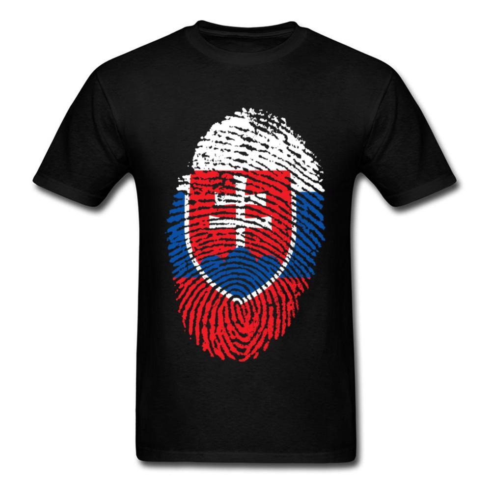 Черный Tshirt Словакия Флаг Fingerprint Tee Полосатая футболка Мужская футболка 100% хлопок Одежда Серый Топы Vintage Style Рубашки
