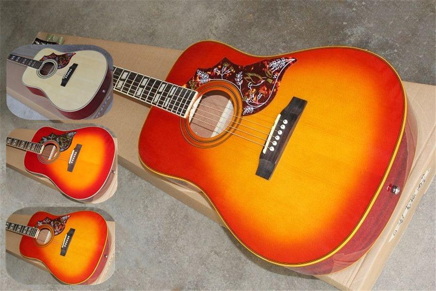 free shipping custom 41 inch acoustic electric guitar,J185,humming bird wood sunburst guitar,hollow guitar,maple body,mahogany neck