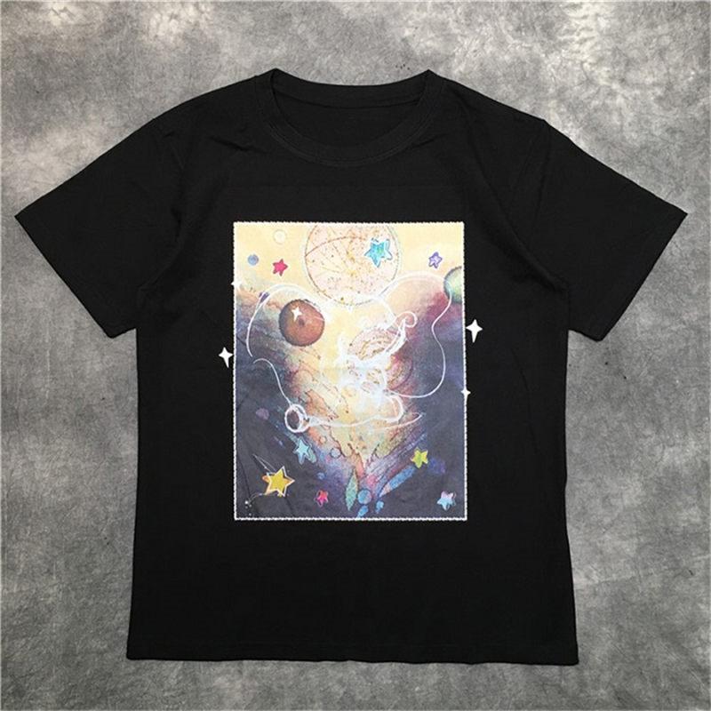Moda Erkek T Shirt 20ss Graffiti Starry Desen Tenis Kısa Kollu T Shirt Erkekler ve Kadınlar Stilist Yüksek Kaliteli Hip Hop Jersey Tee