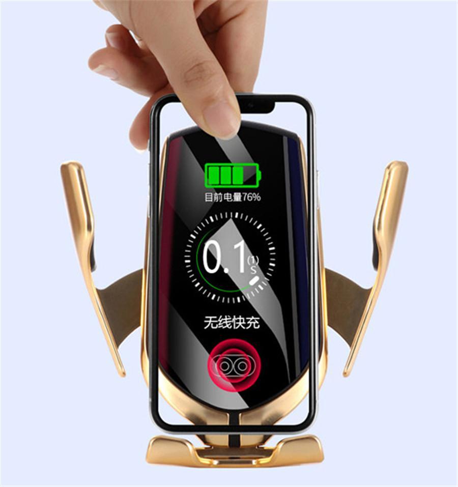 360 grados de rotación titular de coches R1 hilos del coche cargador automático de iPhone para el sensor durante 11 XS MAX Samsung S10e