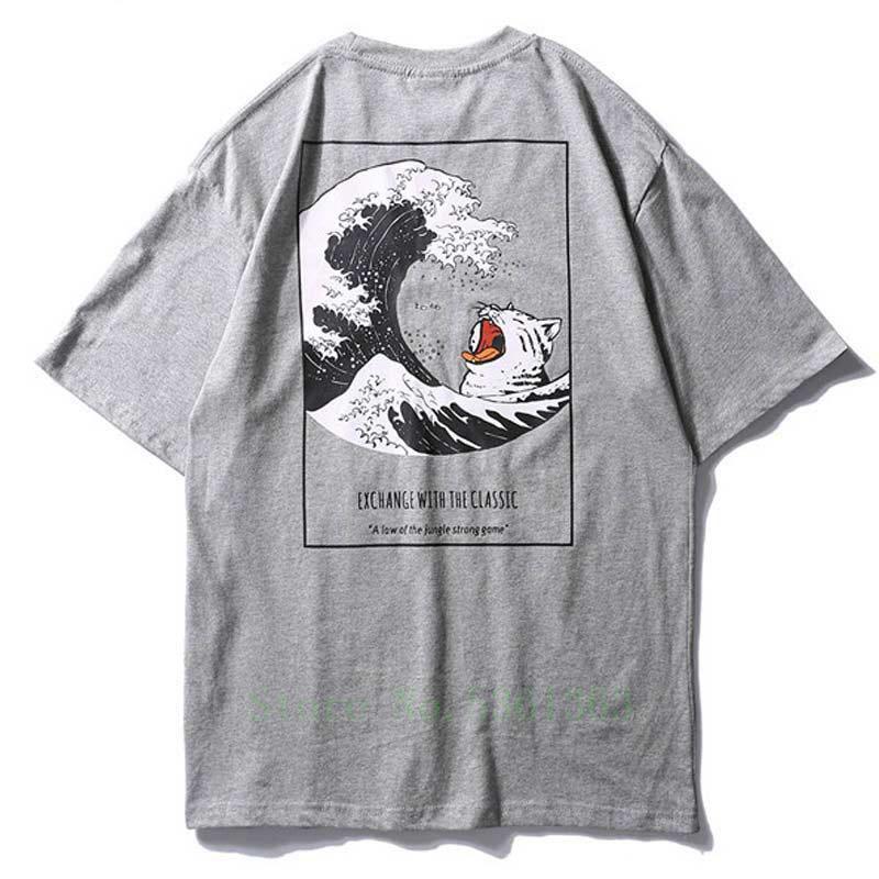 t shirt Erkekler Japon Retro Erkek t shirt Moda Tee gömlek O-Boyun Basit Pamuk High Street Çift Tees Streetwear