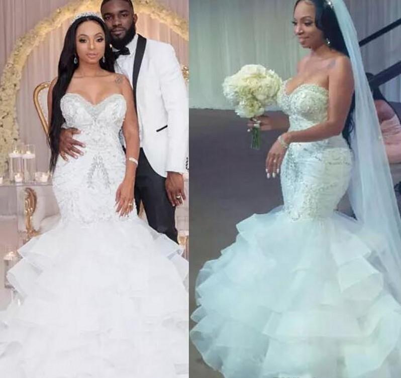 Sexy sirène robes de mariée avec des perles Paillettes Jupe à volants superposés Plus Size Wedding Dress Count train Shinning Zipper Retour Robes de mariée