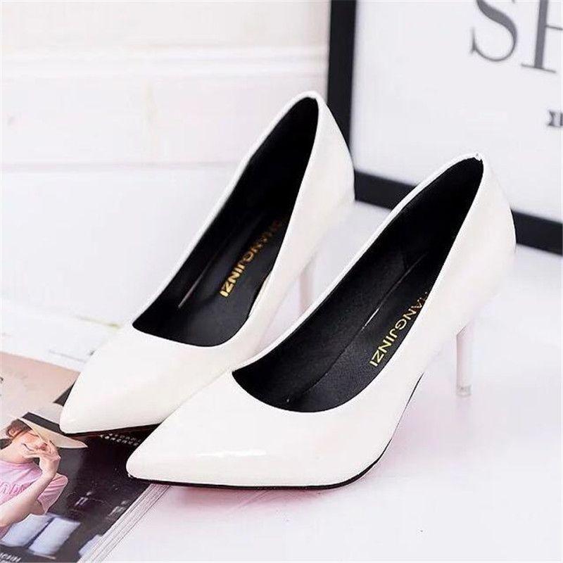 Горячий продавать Женская обувь Toe Pumps Остроконечные лакированной кожи платье Красный 8см Высокие каблуки лодка обувь Тень Свадебная обувь Zapatos Mujer T200730