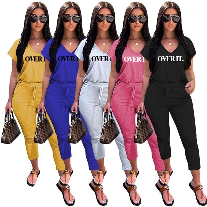 Tshirt Designer Pure Color Cropped Pants Famale Sport Set Women Letter Casual Tracksuit V Neck Short Sleeve Loose