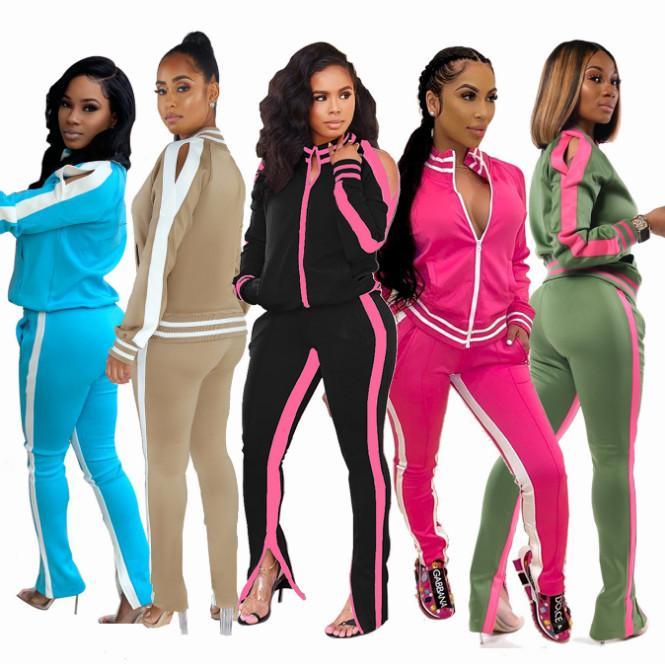 Femmes Mode Casual Automne Printemps à manches longues Deux pièces Jogger Set Automne Dames Survêtement survêtements Noir Rouge Taille Plus S-2XL