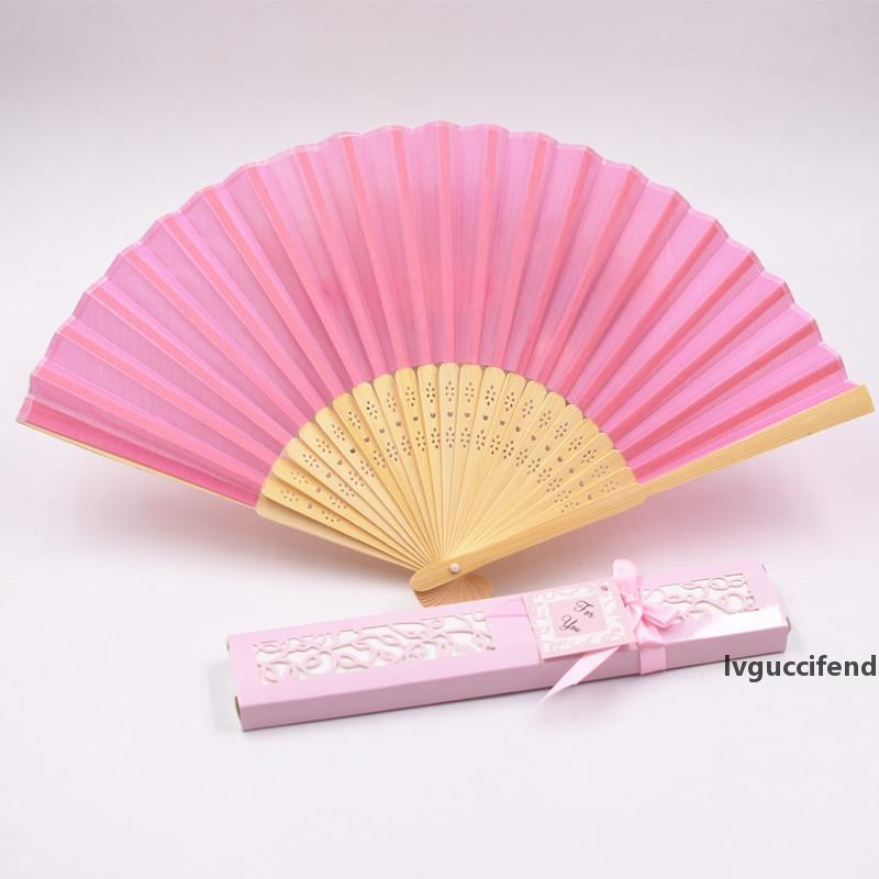 Mix Color Personalized Printing/Engrave Logo On Ribs Wooden Bamboo Hand Silk Wedding Fans Gift Box Free Shipping