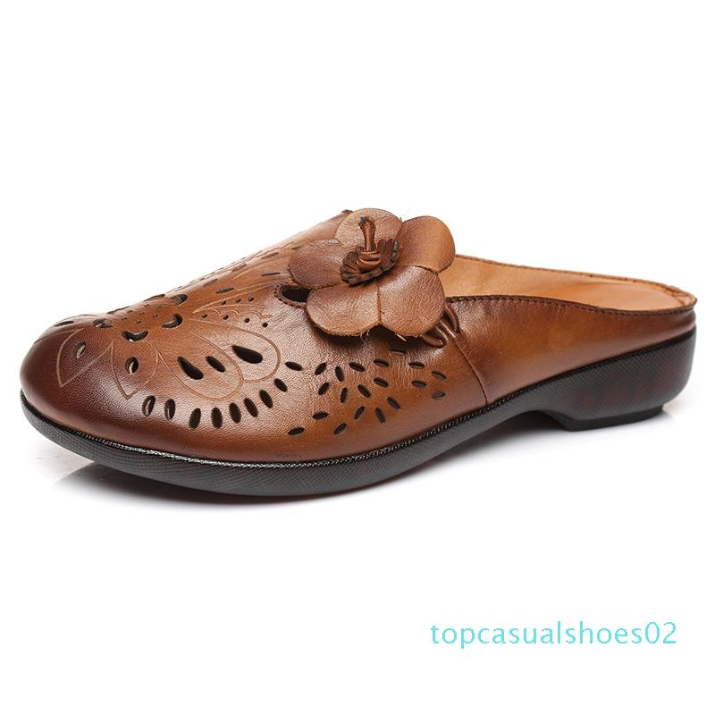 GKTINOO 2020 Nouveau Sandales d'été à la main en cuir véritable femmes Chaussons Rétro Chaussures d'été fleur sandales plates t02