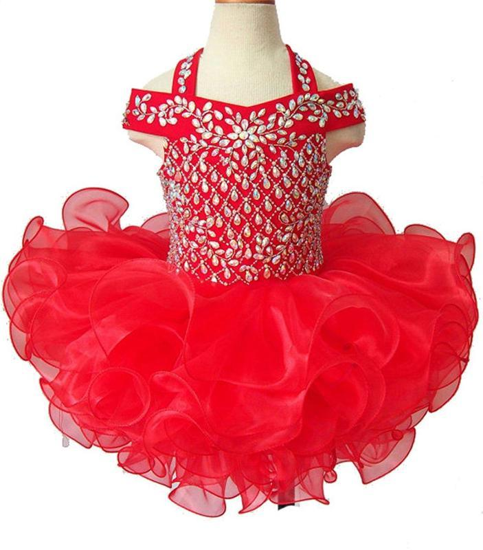 Crystal Little Baby Girls Short Beaded First Pageant for Toddler Father Daughter Wedding Bridsmaid Dance Infant Cupcake Dresses