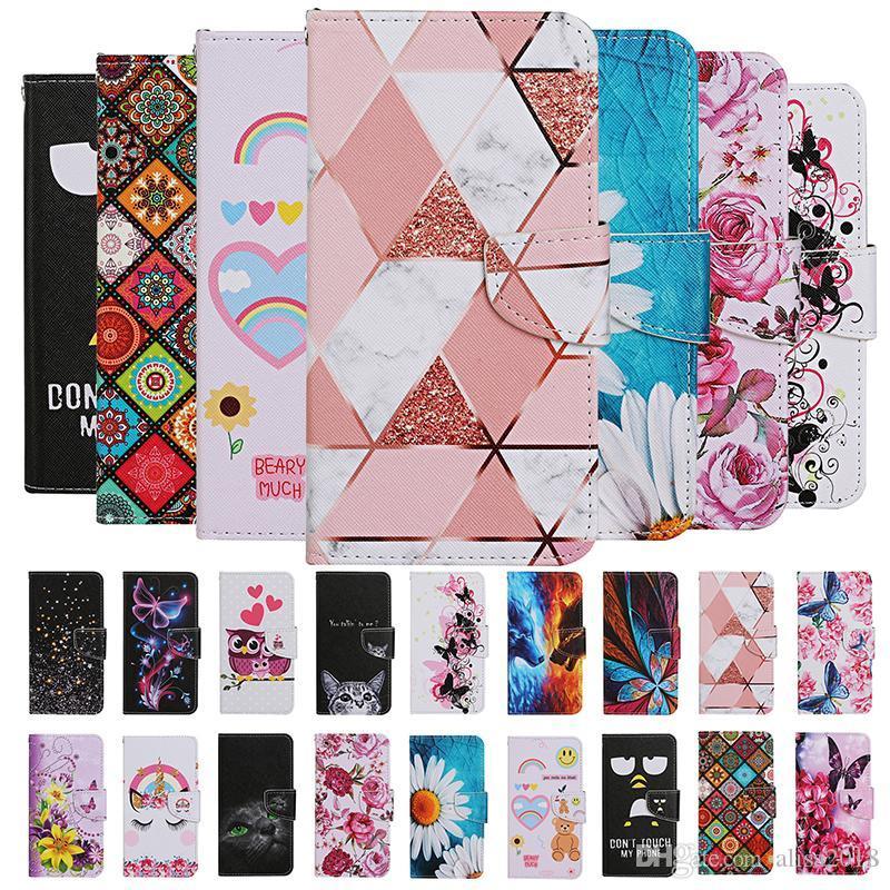 Fleur Hibou Loup papillon Carte d'ours rose Porte-monnaie Flip Case en cuir pour Samsung NOTE20 PRO S10 S20 PLUS S20 Ultra S10e A10S A20S