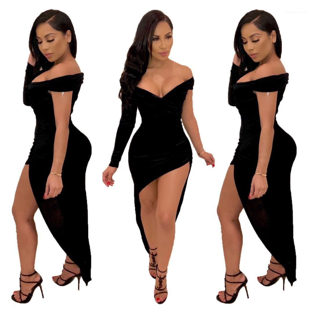 Sexy scollo a V irregolare abito metà di vita Moda Abbigliamento Donna femminili 2020 del progettista Abiti Casual Fashion