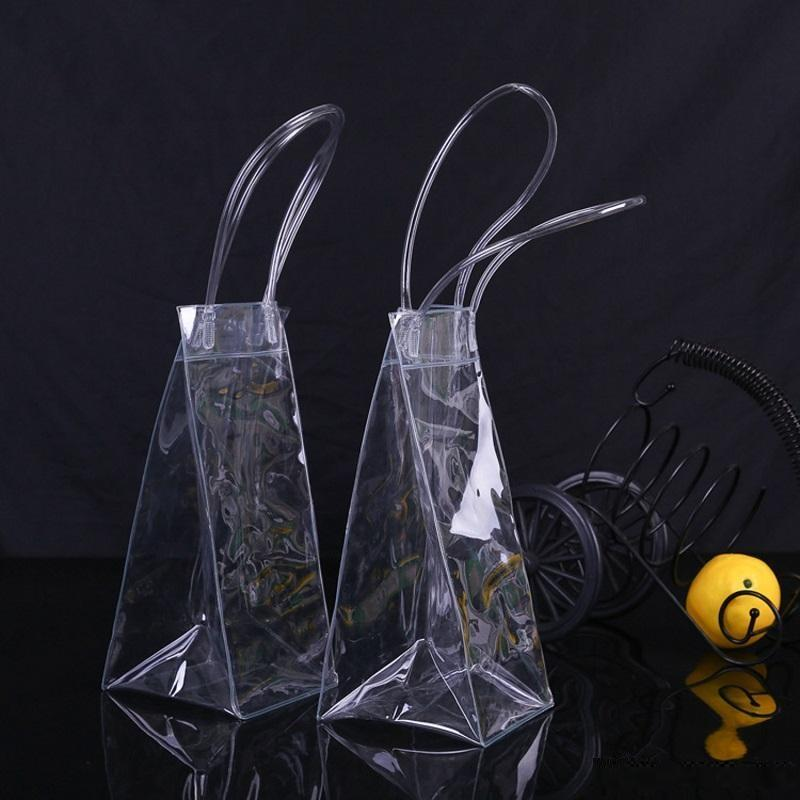Hot Durable Clear Transparent PVC Champagne Wine Ice Bag Pouch Cooler Bag with Handle Fast Shipping