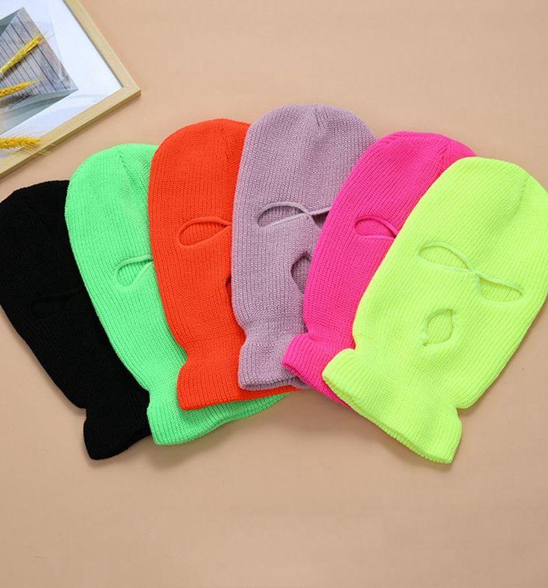 3 trous Full Face Ski Couverture Masque Bonnet d'hiver Bonnet Balaclava capuche Préchauffage chapeaux de fête tactique Chapeau 14 couleurs LJJK2449