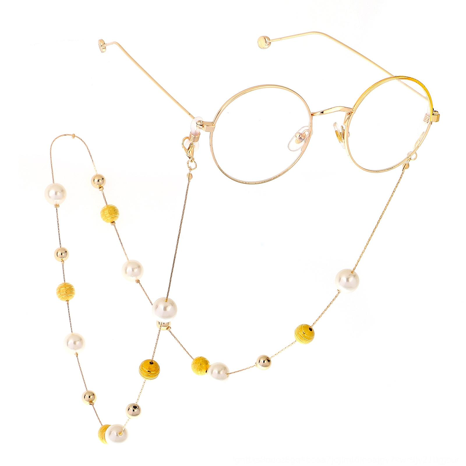 Fashion sweater Pearl glasses chain two-purpose Golden frosted ball pearl glasses chain