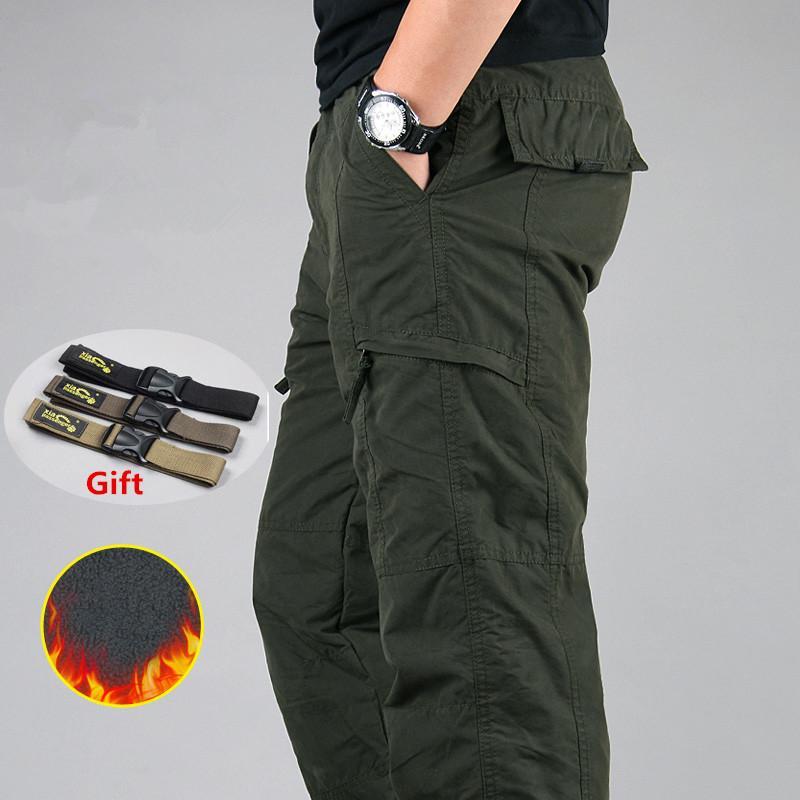 Pantalones de carga de los hombres de invierno espesa el paño grueso y suave de carga pantalones casuales hombres pantalones de algodón táctico militar holgados pantalones calientes más el tamaño 3XL CX200729