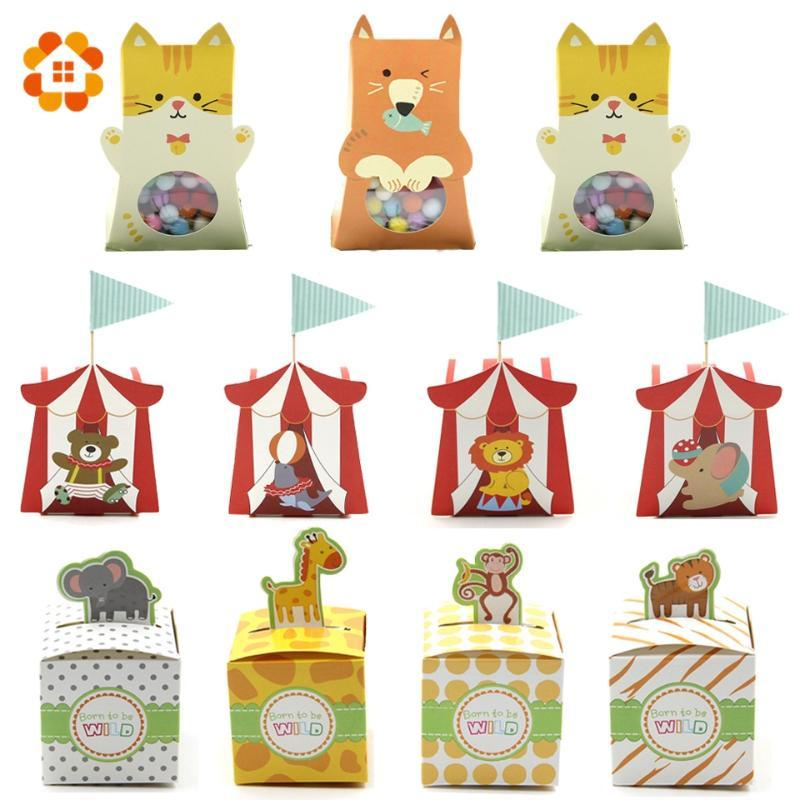 Multi Styles Cartoon Animal Candy Gift Boxes Boy/Girl Kids Birthday Baby Shower Favors Decoration Event&Party Supplies Candy Box