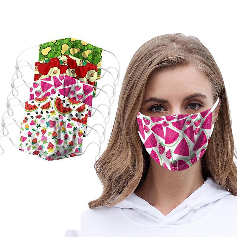 50PCS mode Fruit Imprimer adulte Masques Lavable Safet antipoussière Haze réutilisable PM2,5 Masque réglable Masque de protection