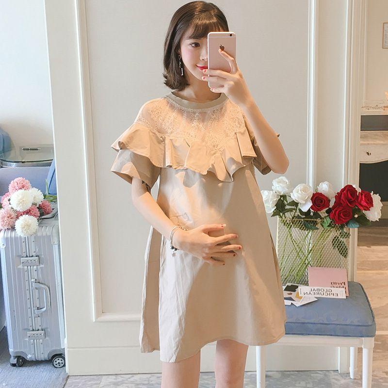 2020 Sommer-neue Art Koreanisch-Art Flounced Spitze Joint lose und plus-sized Mädchen Kleid der schwangeren Frauen