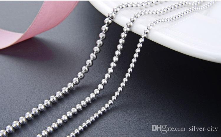 Top quality women's S925 sterling silver chain necklace silver bead chains gold plated silver chokers necklaces bead necklace DDS2193