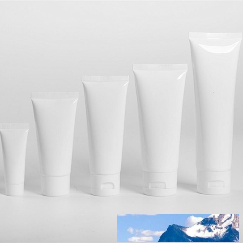 Белый пластик Косметические пробки Refillable Lip Balm Контейнер Trial Упаковка Сжатый Upside Down Бутылка для рук Крем Солнцезащитный шампунь