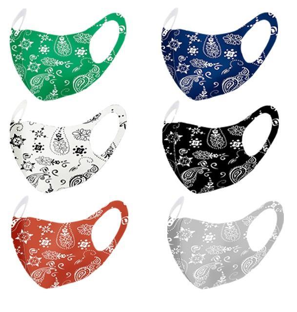 Mode Paisley masque 3D lavable réutilisable Masque PM2,5 Soins du visage pare-soleil de couleur d'or Coude Paillettes Designer Visage Masques Party DHL