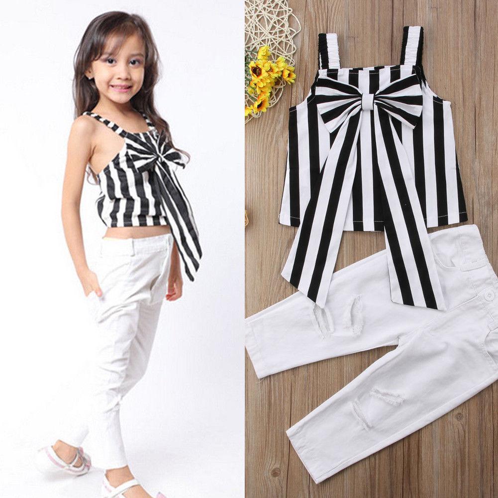 Yeni 2PCS Yürüyor Bebek Çocuk Kız bebekler Kıyafet Kayışı ilmek Çizgili + Delik Uzun Pantolon Çizgili Sunsuit 2-7T Ripped Tops
