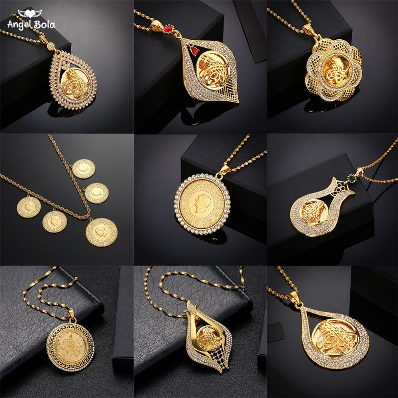Never Faded Big Size Turkey Coin Pendant & Necklaces with Crystal for Women Gold Color Turkish Coins Jewelry Ethnic Gifts