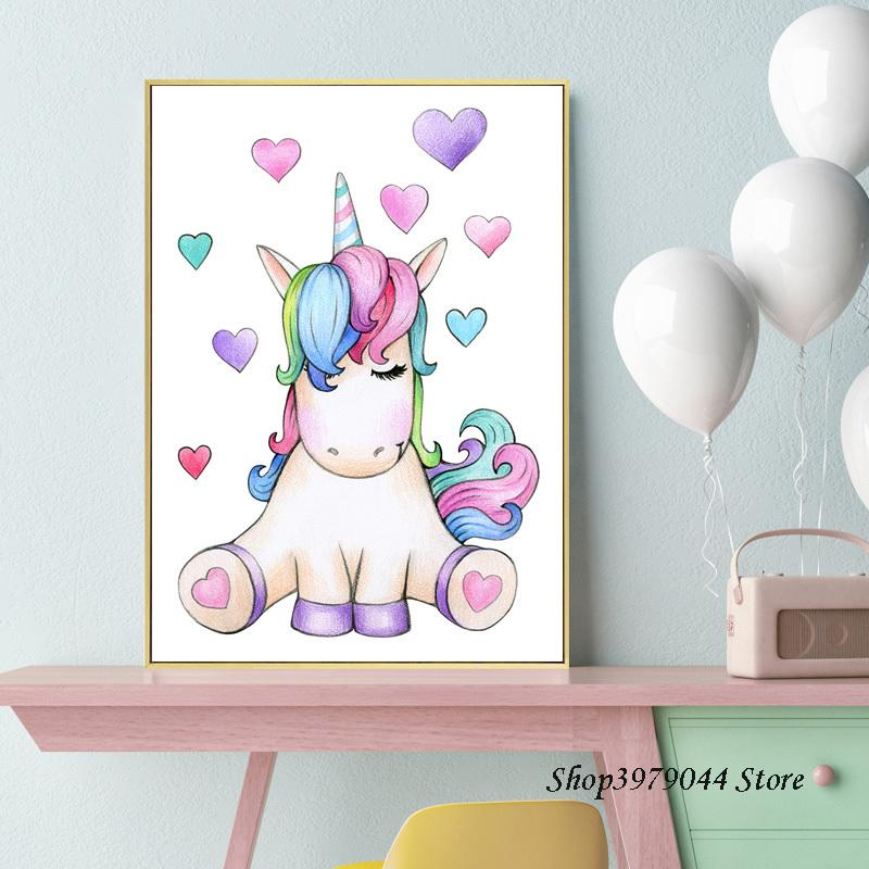 2021 Unicorn Poster Nursery Wall Art Print Watercolor Hearts Canvas Painting Nordic Kids Poster Wall Pictures Baby Girl Room Decor From Haloqueen 3 87 Dhgate Com