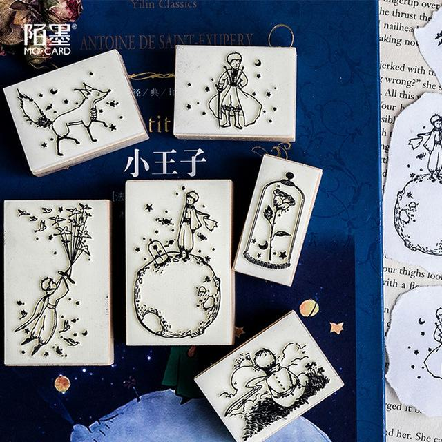 esk Accesorios Accesorios Organizador Placa de soporte de dibujos animados pequeño príncipe sello de madera bricolaje sellos de goma de madera para álbum de recortes ...