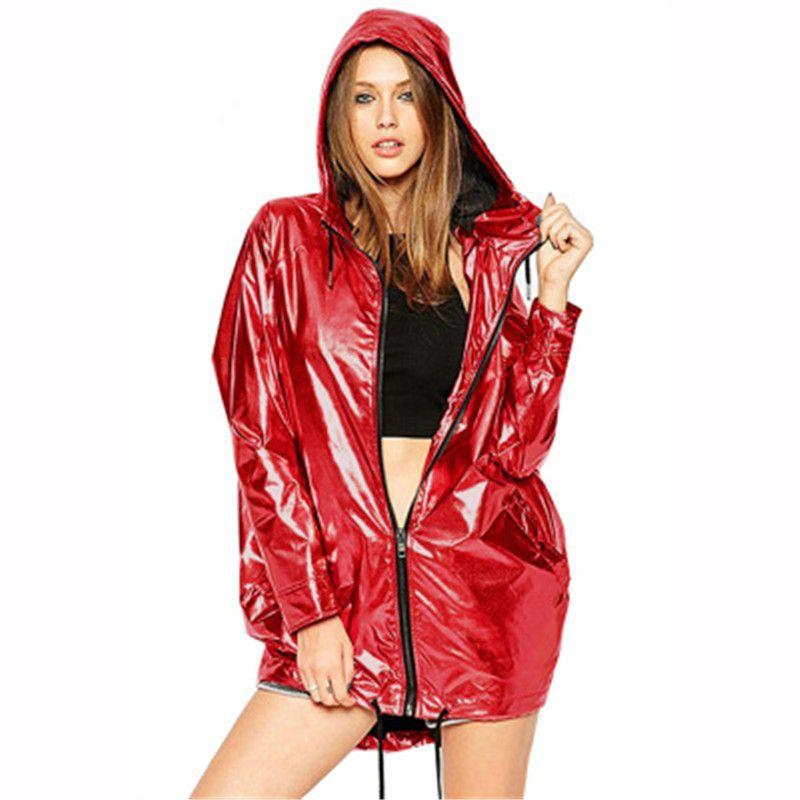2XL más tamaño gabardina impermeable para la moda primavera 2020 otoño con capucha del impermeable tops casuales rompevientos femeninos flojos