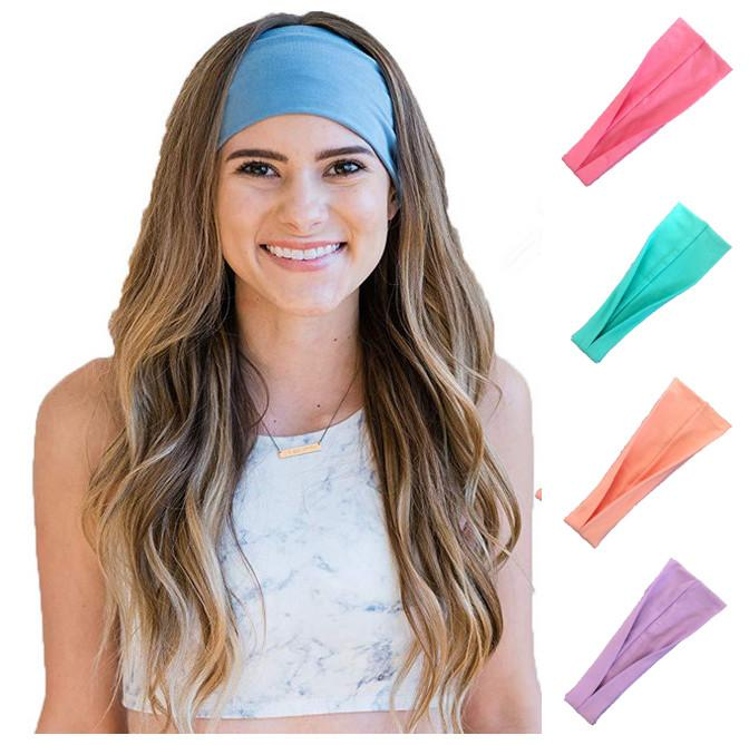 New fashion sport headband Stretch cloth yoga hair bands outdoor sports Biker Wide Head band Hairband For Elastic Girl Women