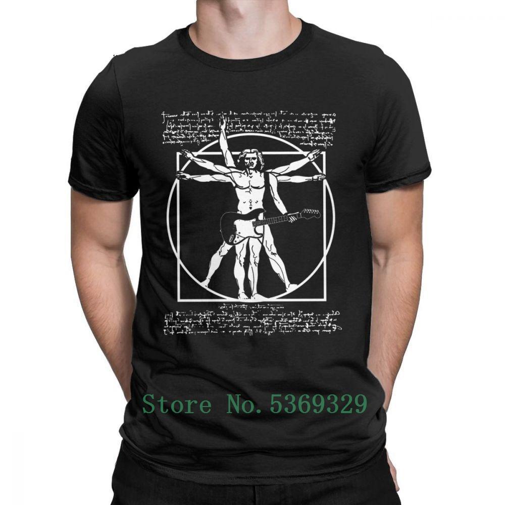 Homme de Vitruve jouer de la guitare T-shirt homme Leonardo Da Vinci Guitariste T-shirt drôle T-shirt en coton Idée de cadeau