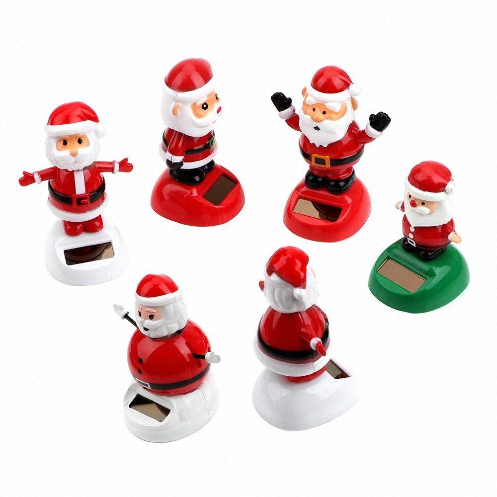 Рождество Стиль солнечных батареях Танцы игрушки Swinging Санта-Клаус автомобилей Украшение Автоаксессуары Dashboard Украшение ijRz #