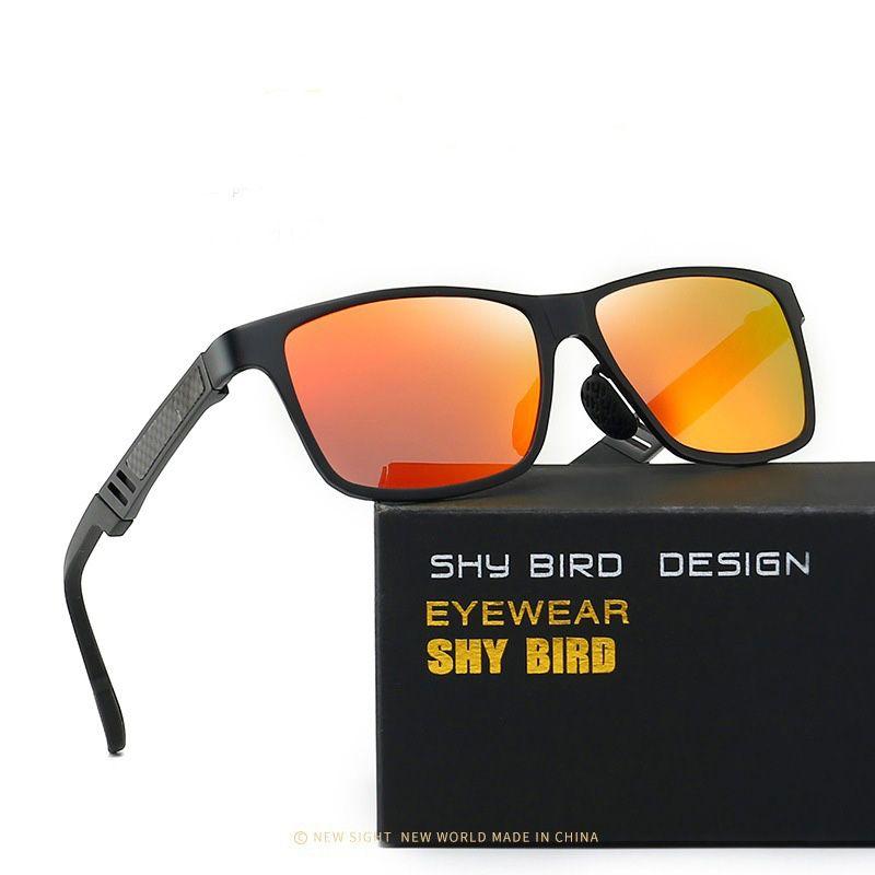 Óculos de sol Semi-alumínio e magnésio colorido driver Polarizer Driving Espelho Outdoor Sports de Nova Men