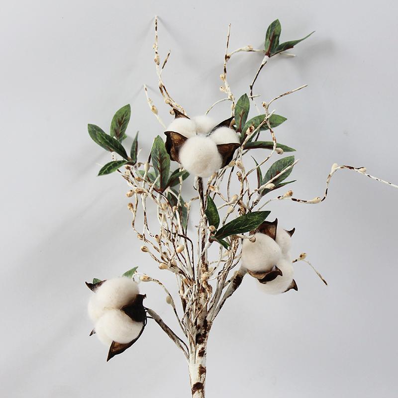 Betulla filiale di albero con le piante decorazioni capsule di cotone floreale artificiale Home Decor Pip Bacche ramo di un albero artificiale verde