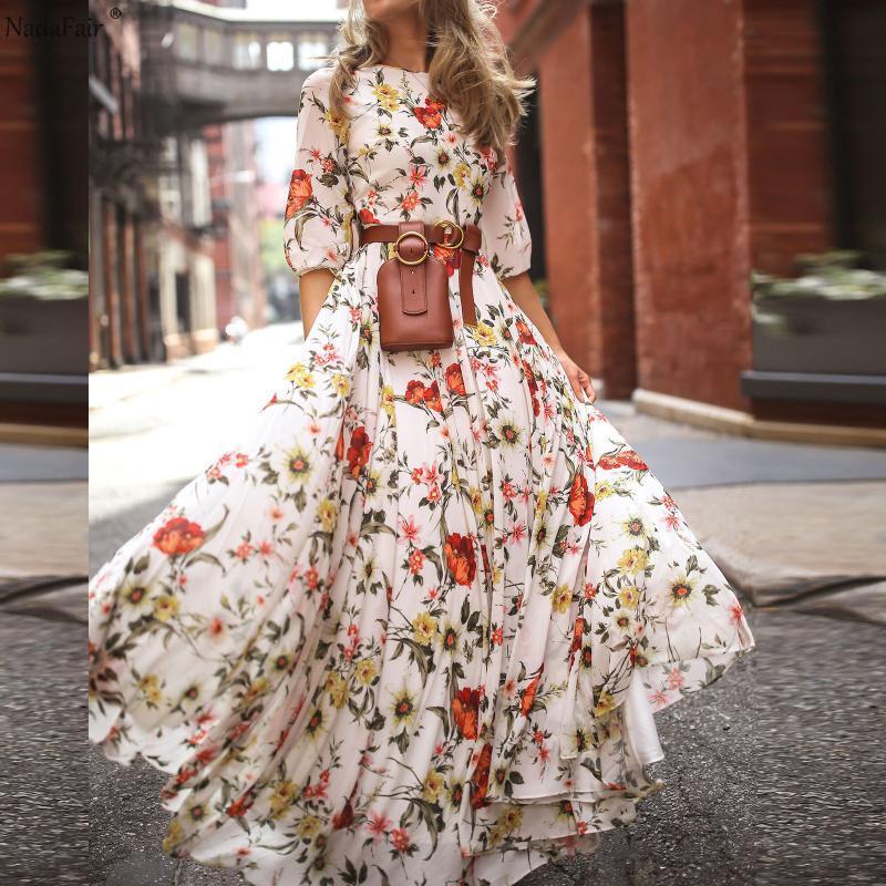 Nadafair vestido de Boho del verano de las mujeres de cintura alta elástico largo Impreso elegante Beach Alquiler floral maxi vestidos de mujer Vestido
