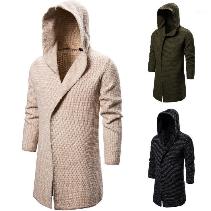 عارضة كم طويل مقنع طويل الحياكة معطف رجالي جديد مصمم الملابس للرجال الصلبة اللون سترة صوفية