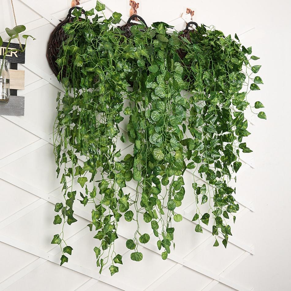 Düğün Bahçe Duvarı Dekorasyon Ev Dekorasyonu için Vine Bitki Rattan Asma Yapay Ivy Garland Yeşillik Yeşil Yapraklar Sahte