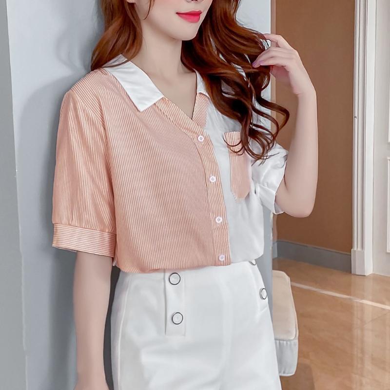 Kadınlar Gömlek yaz kore tarzı Üst Çizgili Ekleme Kısa Kollu Casual Gömlek Yaka keten serin ofis bayanlar Bluz kadın blusas