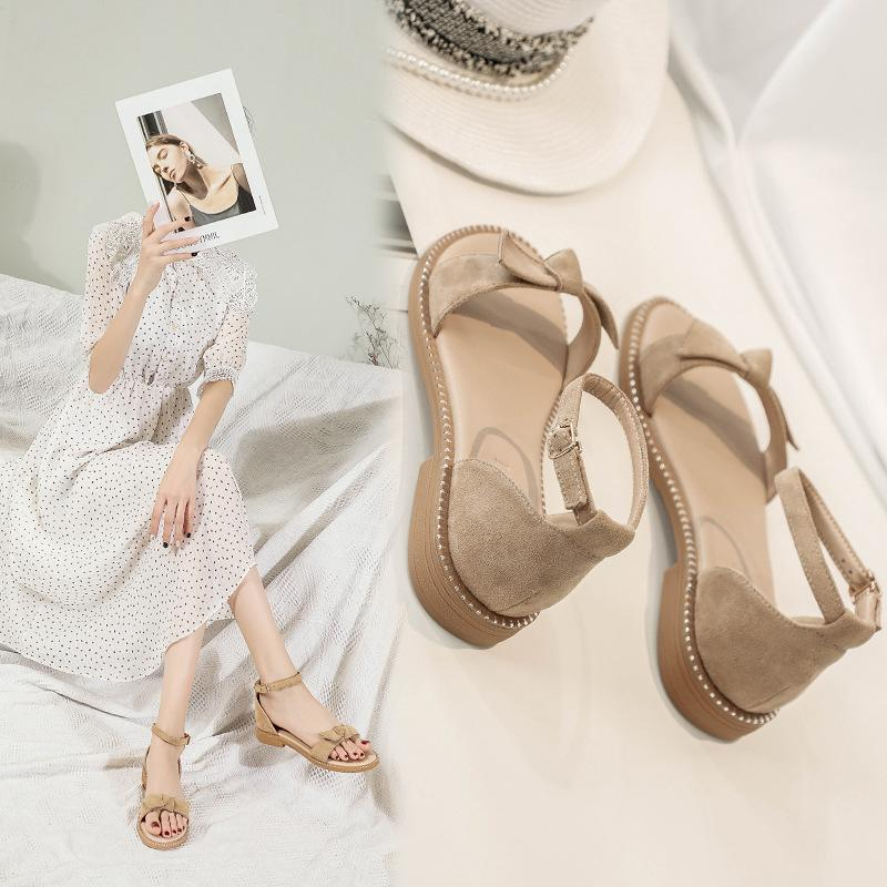 Sandalen Flache Schuhe der Frauen All-Gleiches Fee Schuhe weiche Unterseite Bequeme niedrige Ferse römischen Frauen Sandalen Sommer