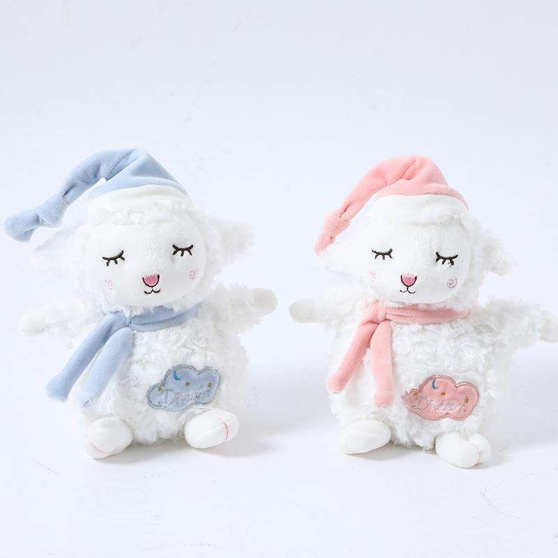 sueño del bebé lindo de las ovejas 17cm poco juguete relleno suave de dibujos animados de juguetes de lana americana los animales de peluche de los niños con el regalo de Navidad calmante muñeca de la muchacha