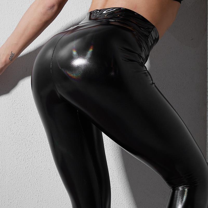 NORMOV PU Leggings femmes taille haute Pantalon noir gothique Fitness Femmes Push Up Slim entraînement Crayon Pantalons simple Skinny