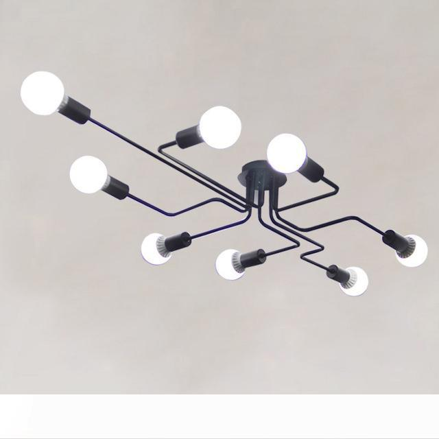 Moderna lampada di notte ha condotto la lampada a LED Lampadario apparecchi di illuminazione Lustre epoca industriale Cucina Soggiorno Nero