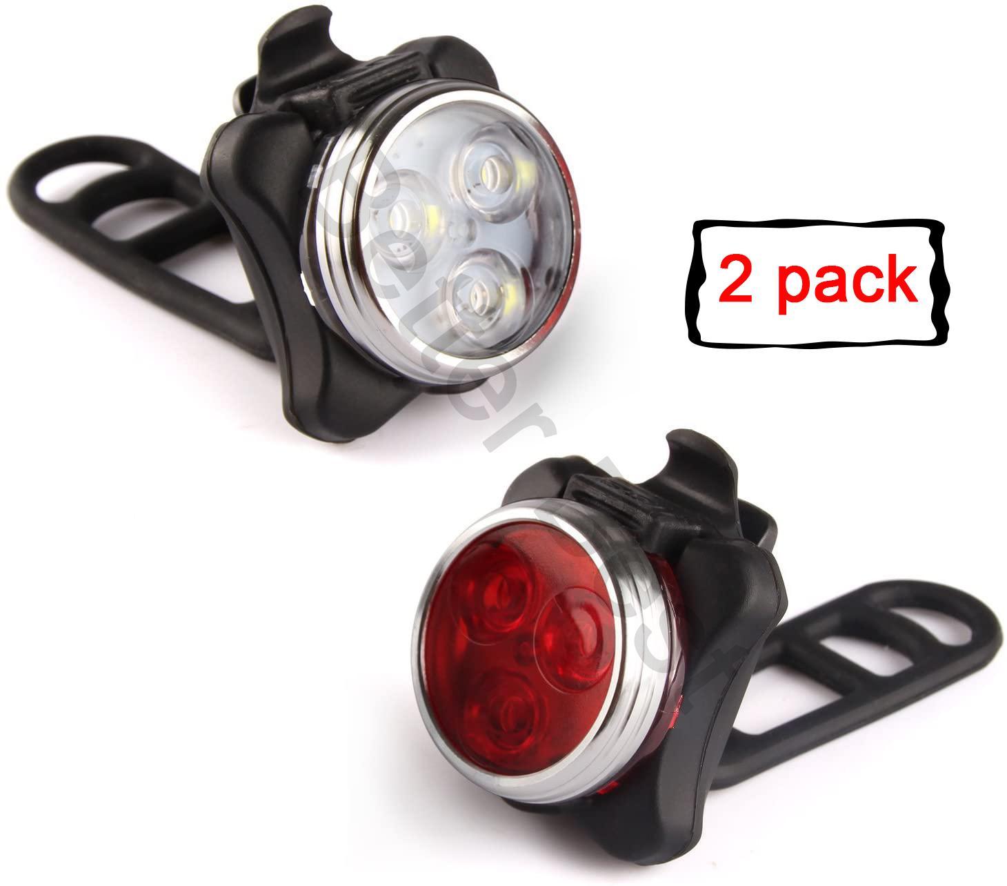 USB Şarj edilebilir Bisiklet Işık Seti, 400mAh Lityum Batarya, Süper Parlak Ön Far ve Arka LED Bisiklet Işık, 4 Işık modu seçenekleri