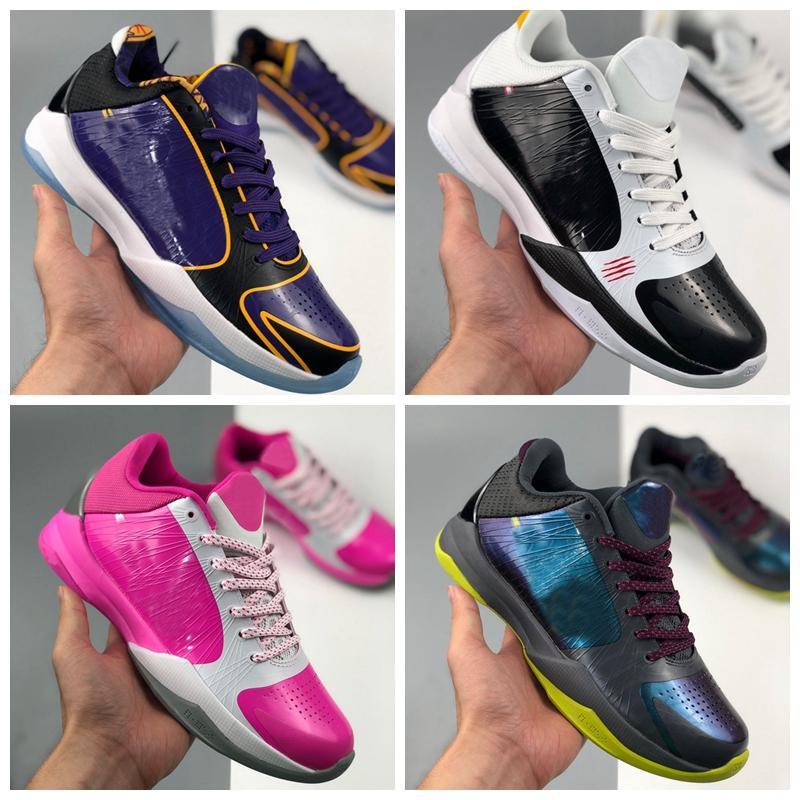 Zoom para hombre Mamba 5 V Protro Lakers 5S Zapatos de baloncesto Al Aire Libre Cestas Negras Rosa Deportes Deportes Zapatillas Zapatos Des Chaussure