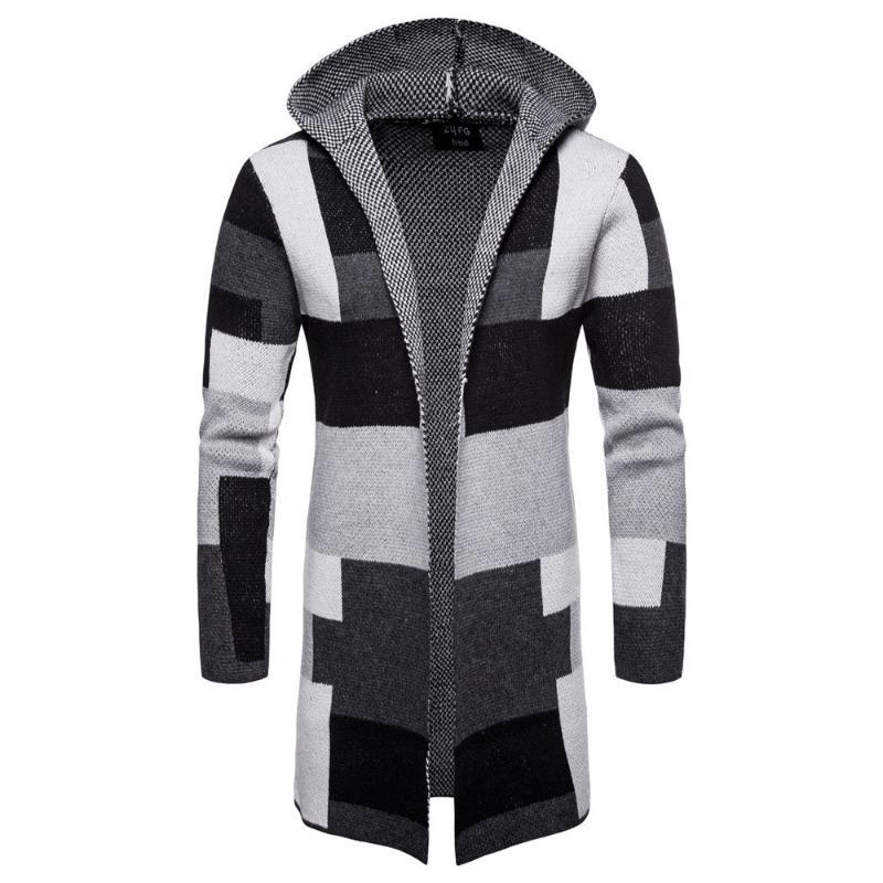 Erkekler Hırka Coat Kazak Kapşonlu Cloak Uzun WINDBREAKER Cloak Coat Örme Triko Büyük Boyut 5XL Hırkalar Kabanlar çizgili