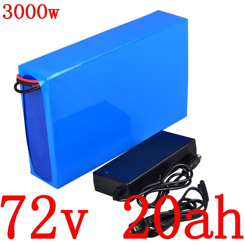 şarj cihazı ile 72V 20AH lityum iyon pil 2000W 3000W elektrikli scooter paketi bisiklet