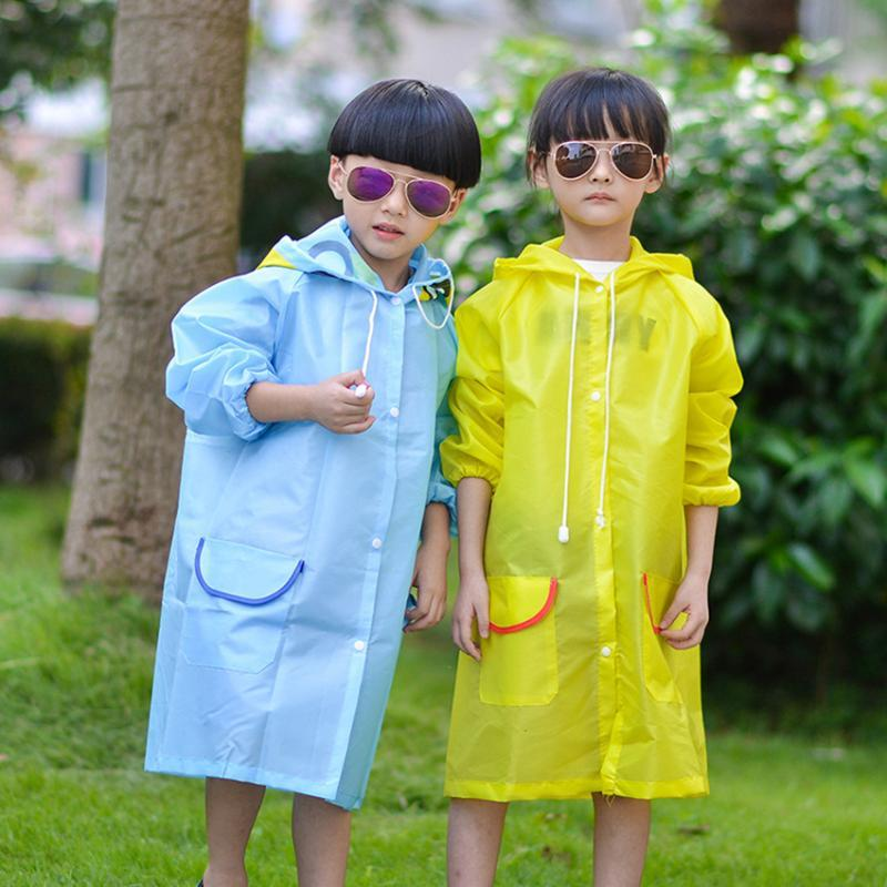 Portable Kids Children Raincoat, Reusable Raincoat with Hood and Sleeves, Durable, Lightweight and for Outdoor Activities