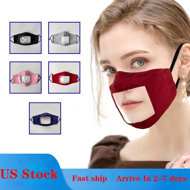 США Stock! Видна рот против пыли Многоразовый моющийся чехол Маска для лица с Clear Пвх окна Взрослые Глухой слабослышащие Люди Дизайнер Маски