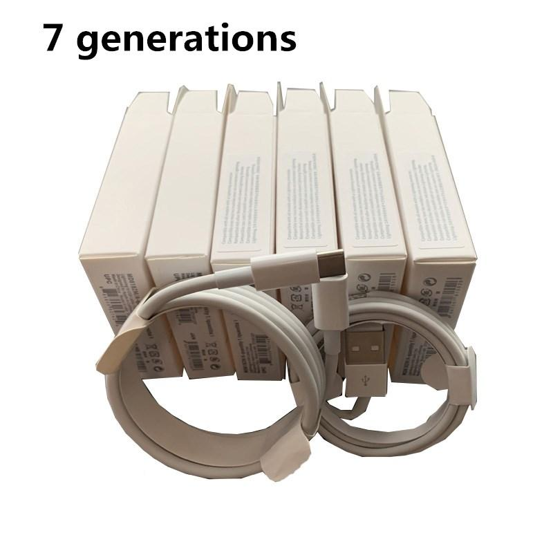 100 pcs 7 gerações originais OEM Qualidade 1M / 3FT 2M / 6FT Dados USB Cobra de sincronização para cabo de telefone com caixa de pacote de varejo