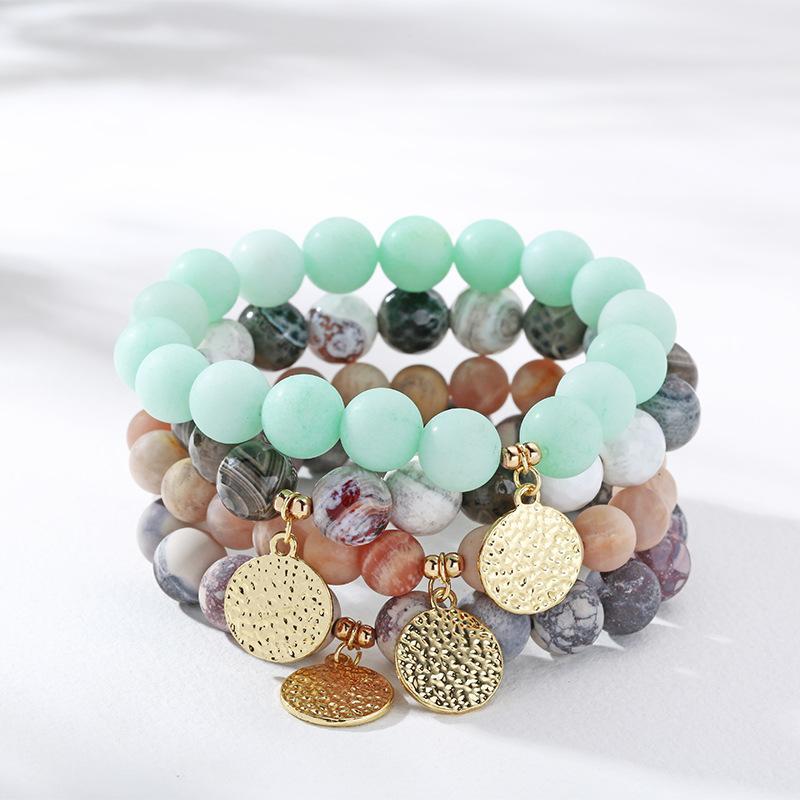10 мм натурального камень браслет, восемь планетарная браслет, кулон металла, кристалл подарок ювелирных изделий, пара моделей